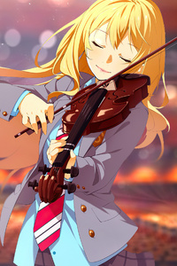 1440x2960 Shigatsu Wa Kimi No Uso Playing Violin