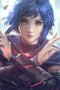 Short Hair Warrior Women Blue Hair