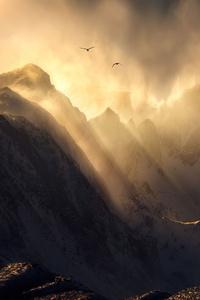Sierra Nevada Mount Range Sun Rays 4k