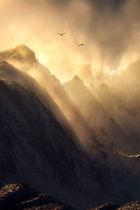 1080x2160 Sierra Nevada Mount Range Sun Rays 4k