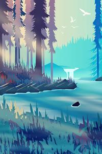 1080x2280 Silent Evening Forest Minimalism 4k