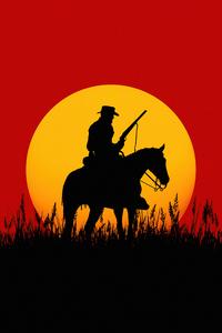 2160x3840 Silhouette Cowboy Red Dead Redemption 2 5k