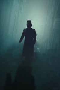 750x1334 Silhouette Night Fog Man With Hat Walking 5k