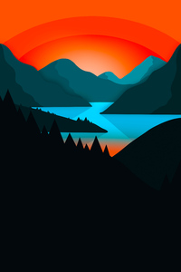 320x568 Simple Minimal Mountains Landscape 4k