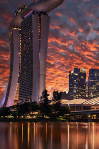 Singapore Skyscrapers Marina Bay Sands Evening 4k