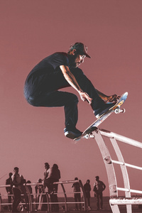 1440x2960 Skateboard Stunting Man 4k