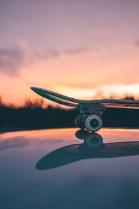 Skateboarding Sunset Macro 5k