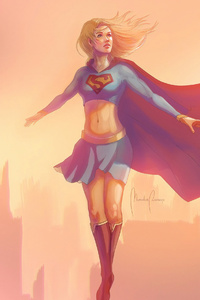 1242x2688 Sketch Art Supergirl 4k