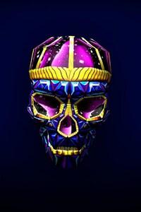 480x854 Skull 3d Art Bright