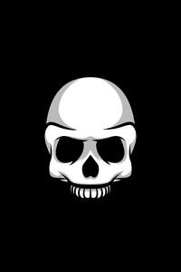 Skull Black Minimalism 4k