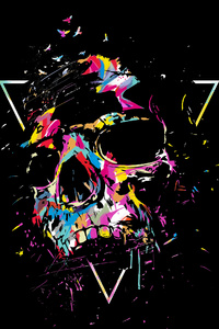 Skull Color Sketch Art 4k