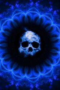 Skull Dark Blue Gothic Fantasy