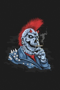 640x1136 Skull Dark Minimalist 4k
