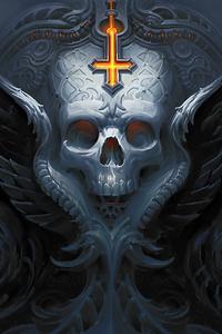 720x1280 Skull Decor 4k