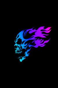 1080x2280 Skull Glowing Minimal Neon 5k