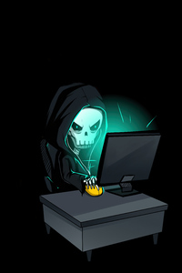 1440x2960 Skull Hacking Time 4k
