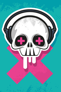 480x854 Skull Headphone Art 4k