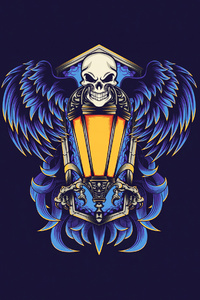 720x1280 Skull Lamp Minimal 4k