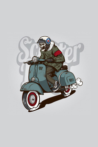 Skull Man On Scooter Minimal 4k