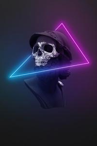 1080x2280 Skull Neon Minimal Logo 5k