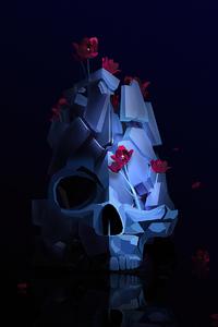 750x1334 Skull Roses Justin Maller 4k