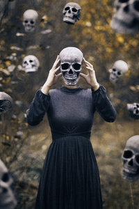 720x1280 Skull Spooky Girl 5k