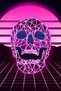 Skull Synthwave 4k