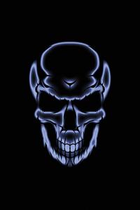 750x1334 Skull White Glow Dark 4k