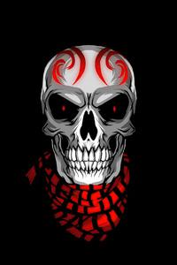 240x400 Skull With Scarves Minimal 4k