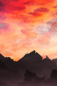 Sky Painting Mountains Landscape 4k