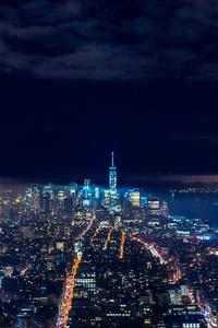 Skycrappers Buildings Lights Night View