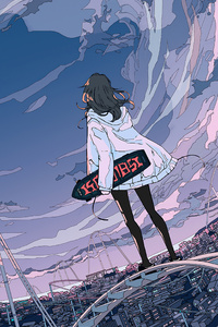 Skyline Anime Girl Skateboard 5k