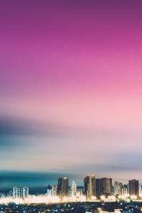 Skyline Purple City Skycrapper 4k