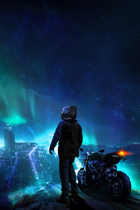 800x1280 Skylines Biker Blue City Photomanipulation