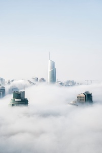 Skyscraper Buildings Covered In Fog