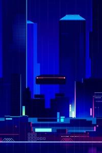 Skyscraper Synthwave Digital Art 4k