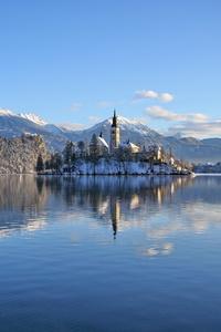 1242x2688 Slovenia Lakes Alps Snow