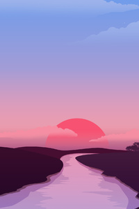 1080x2280 Small Lake Red Sunset 4k