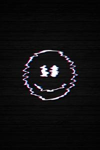 240x400 Smiley Glitch Dark Black 4k