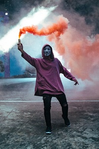 480x800 Smoke Bomb Anonymus Mask Guy 5k