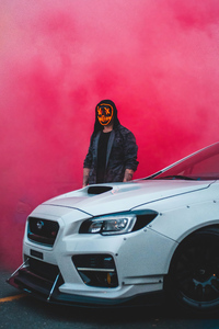 480x854 Smoke Mask Man With Car