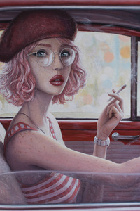 1280x2120 Smoking Cigarette In Car Girl Digital Art