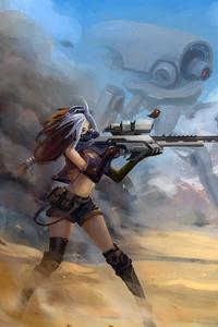 640x1136 Sniper Girl Fantasy Art 4k