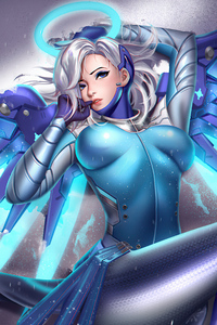 240x400 Snow Angel Mercy Overwatch 4k