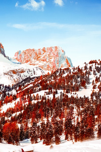 Snow Capped Mountains Red Infrared Dolomites 5k