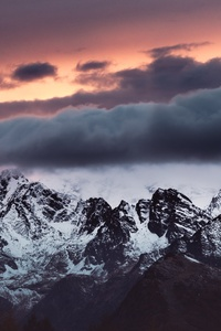 240x320 Snow Covered Mountains Clouds Over It 5k
