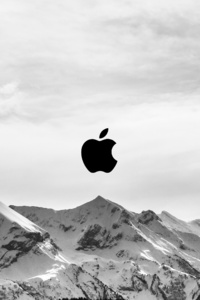 360x640 Snow Mountains Apple Logo 5k