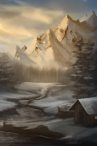 1242x2688 Snow Mountains Artwork