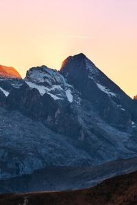 Snow On Big Rocks Mountains Sunbeams