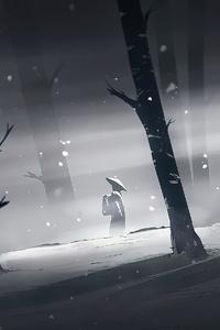 1242x2688 Snowy Night 4k